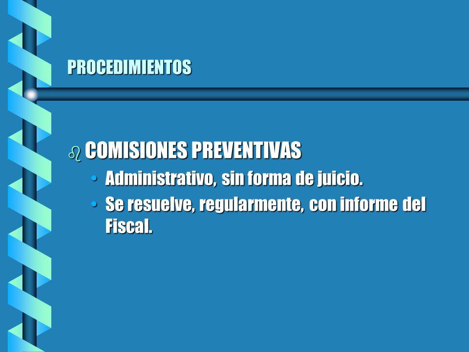 PROCEDIMIENTOS b COMISIONES PREVENTIVAS Administrativo, sin forma de juicio.Administrativo, sin forma de juicio.