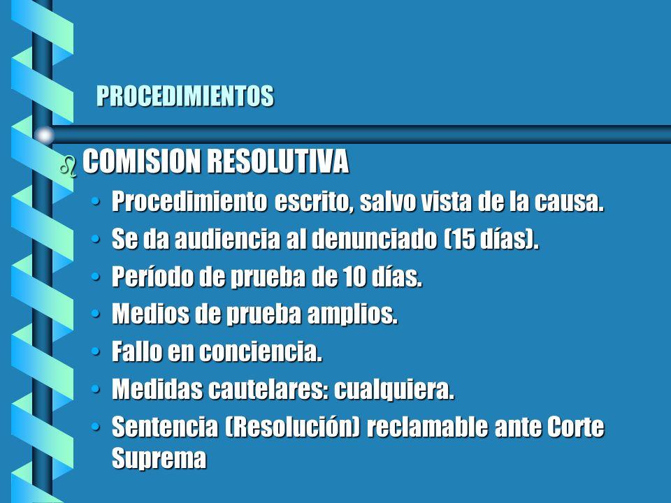 PROCEDIMIENTOS b COMISION RESOLUTIVA Procedimiento escrito, salvo vista de la causa.Procedimiento escrito, salvo vista de la causa.