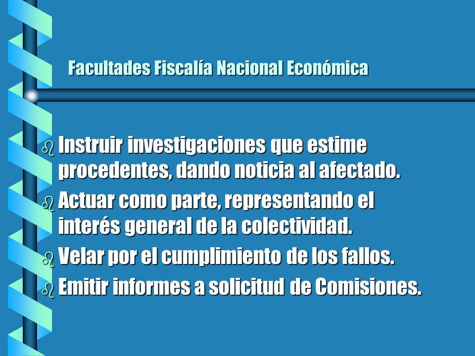 Facultades Fiscalía Nacional Económica b Instruir investigaciones que estime procedentes, dando noticia al afectado.