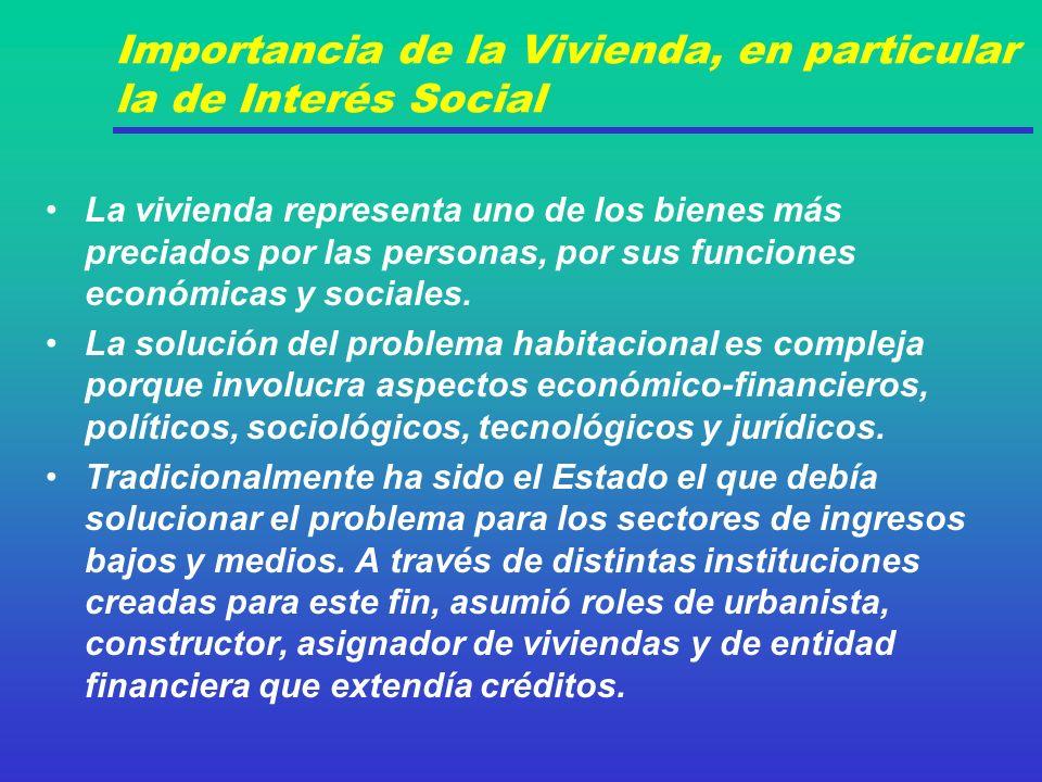 Importancia de la Vivienda, en particular la de Interés Social La vivienda representa uno de los bienes más preciados por las personas, por sus funciones económicas y sociales.