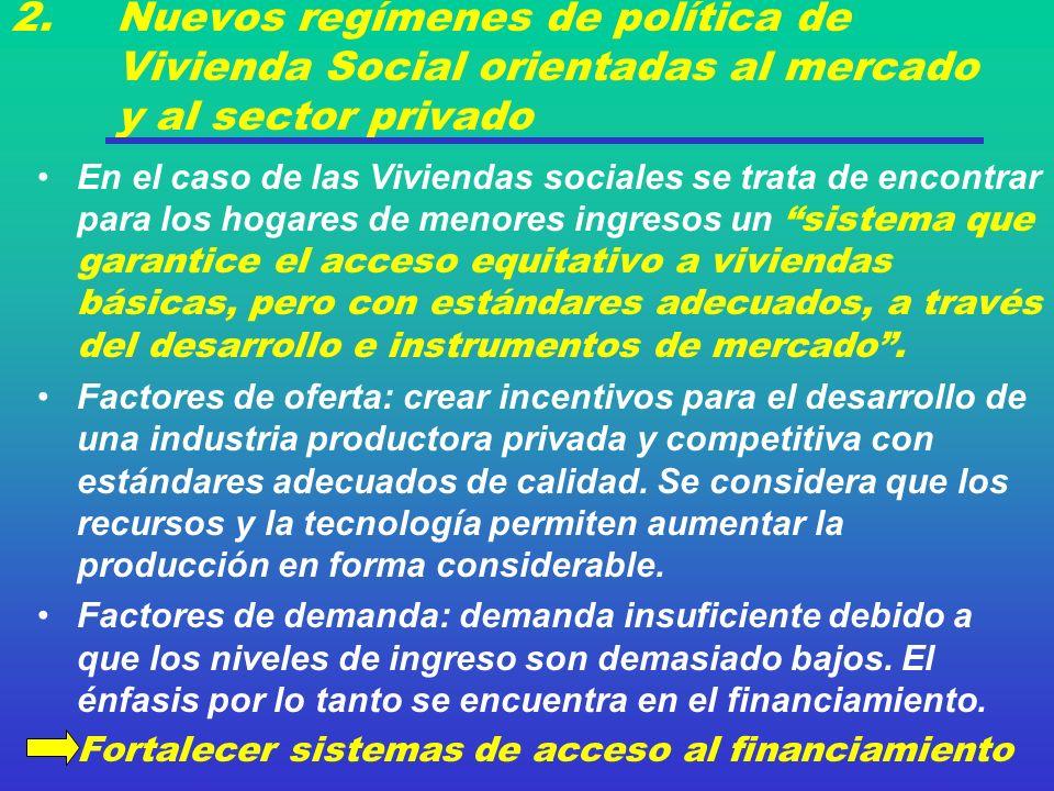 2. Nuevos regímenes de política de Vivienda Social orientadas al mercado y al sector privado En el caso de las Viviendas sociales se trata de encontra
