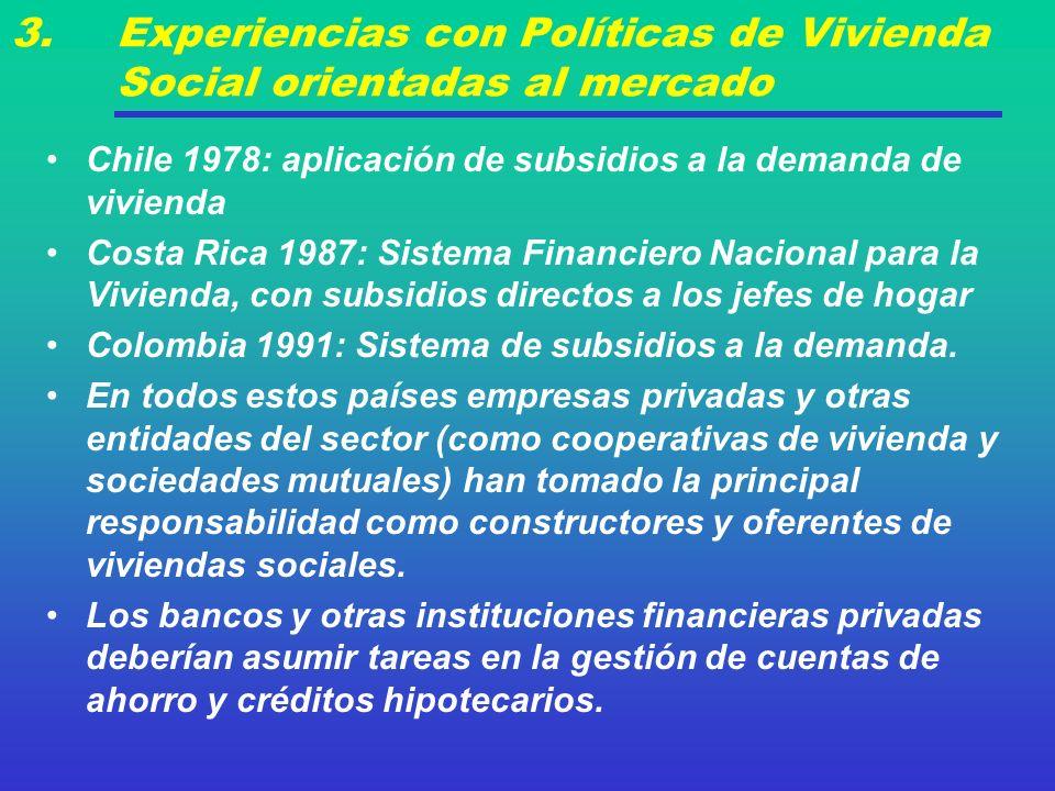 3. Experiencias con Políticas de Vivienda Social orientadas al mercado Chile 1978: aplicación de subsidios a la demanda de vivienda Costa Rica 1987: S