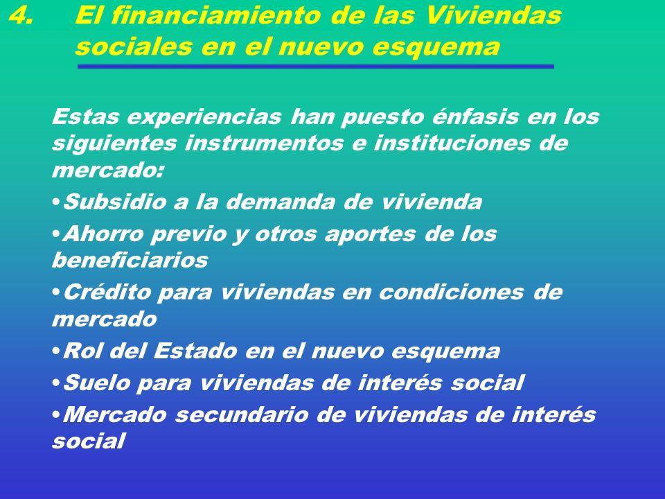 4. El financiamiento de las Viviendas sociales en el nuevo esquema Estas experiencias han puesto énfasis en los siguientes instrumentos e institucione