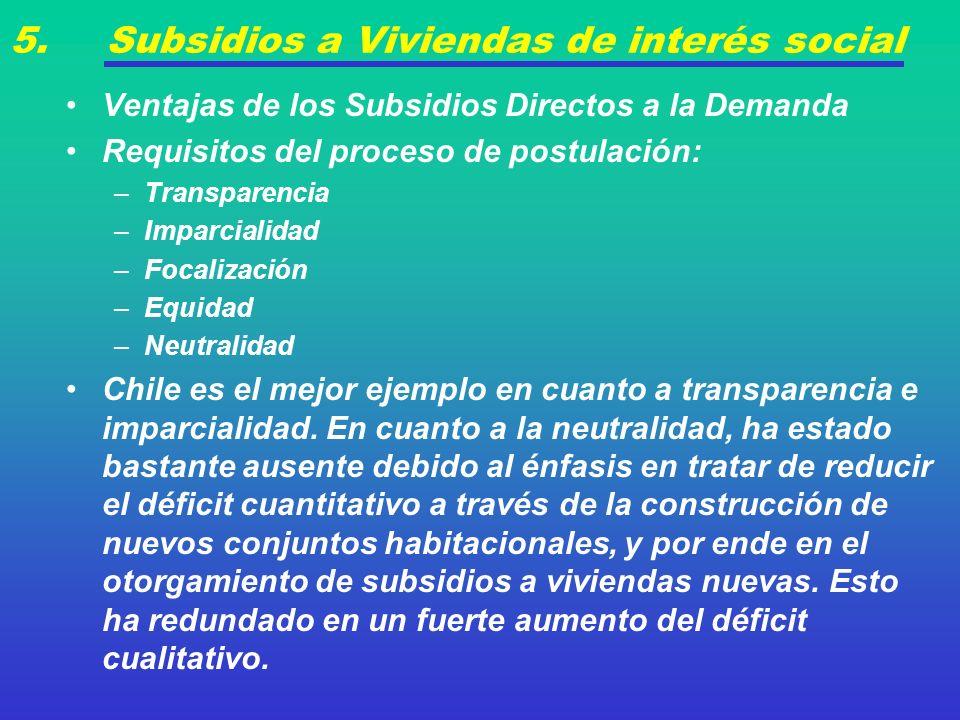 5. Subsidios a Viviendas de interés social Ventajas de los Subsidios Directos a la Demanda Requisitos del proceso de postulación: –Transparencia –Impa