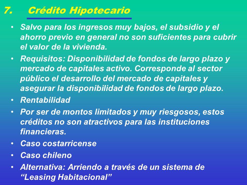 7. Crédito Hipotecario Salvo para los ingresos muy bajos, el subsidio y el ahorro previo en general no son suficientes para cubrir el valor de la vivi