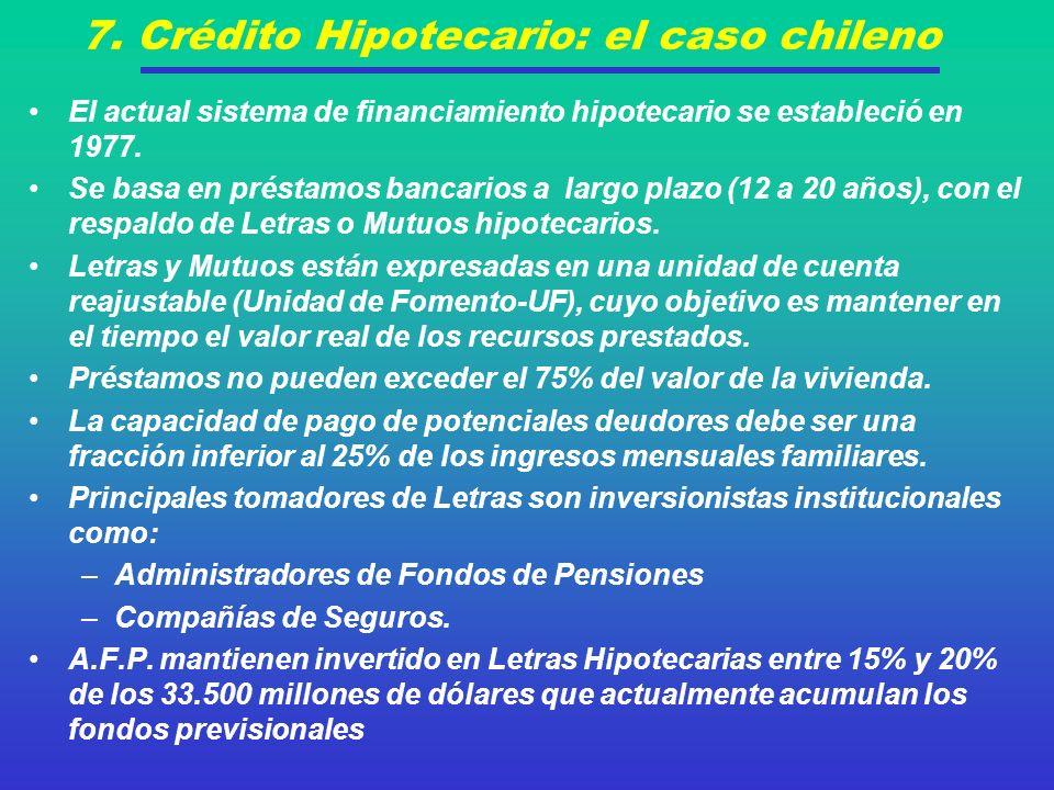 7. Crédito Hipotecario: el caso chileno El actual sistema de financiamiento hipotecario se estableció en 1977. Se basa en préstamos bancarios a largo