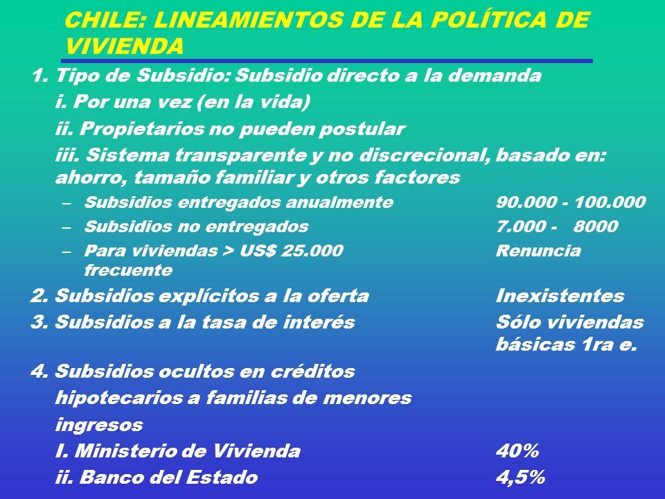 CHILE: LINEAMIENTOS DE LA POLÍTICA DE VIVIENDA 1.