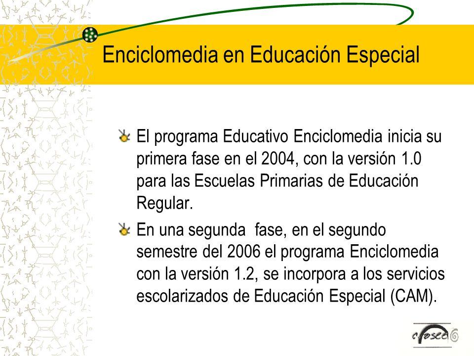 Enciclomedia en Educación Especial El programa Educativo Enciclomedia inicia su primera fase en el 2004, con la versión 1.0 para las Escuelas Primaria