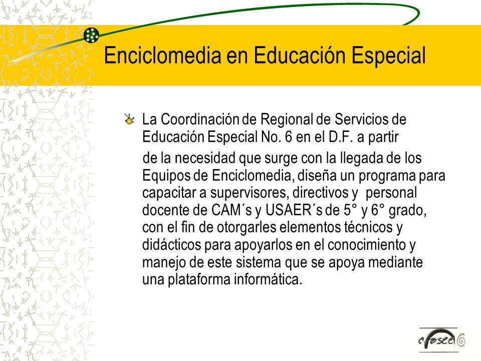 Enciclomedia en Educación Especial La Coordinación de Regional de Servicios de Educación Especial No. 6 en el D.F. a partir de la necesidad que surge