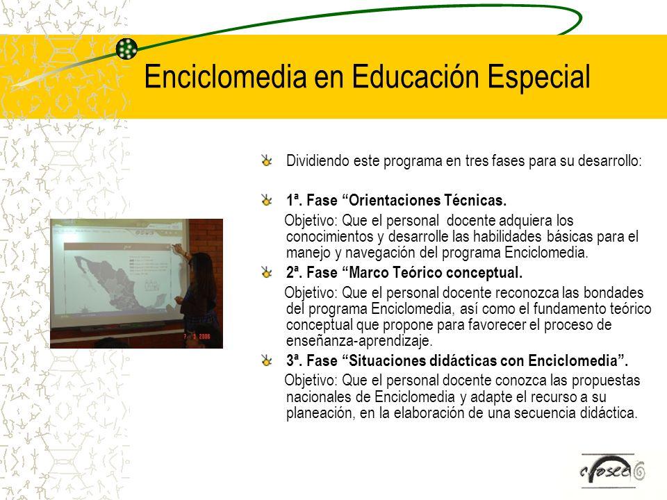 Enciclomedia en Educación Especial Dividiendo este programa en tres fases para su desarrollo: 1ª. Fase Orientaciones Técnicas. Objetivo: Que el person