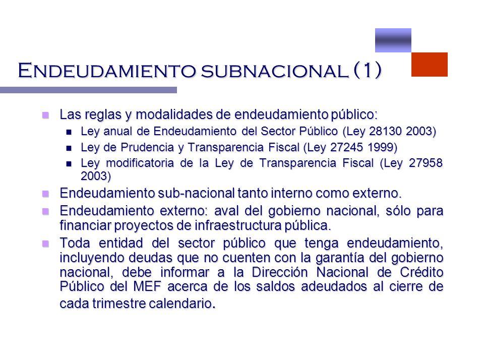Endeudamiento subnacional (1) Las reglas y modalidades de endeudamiento público: Las reglas y modalidades de endeudamiento público: Ley anual de Endeu