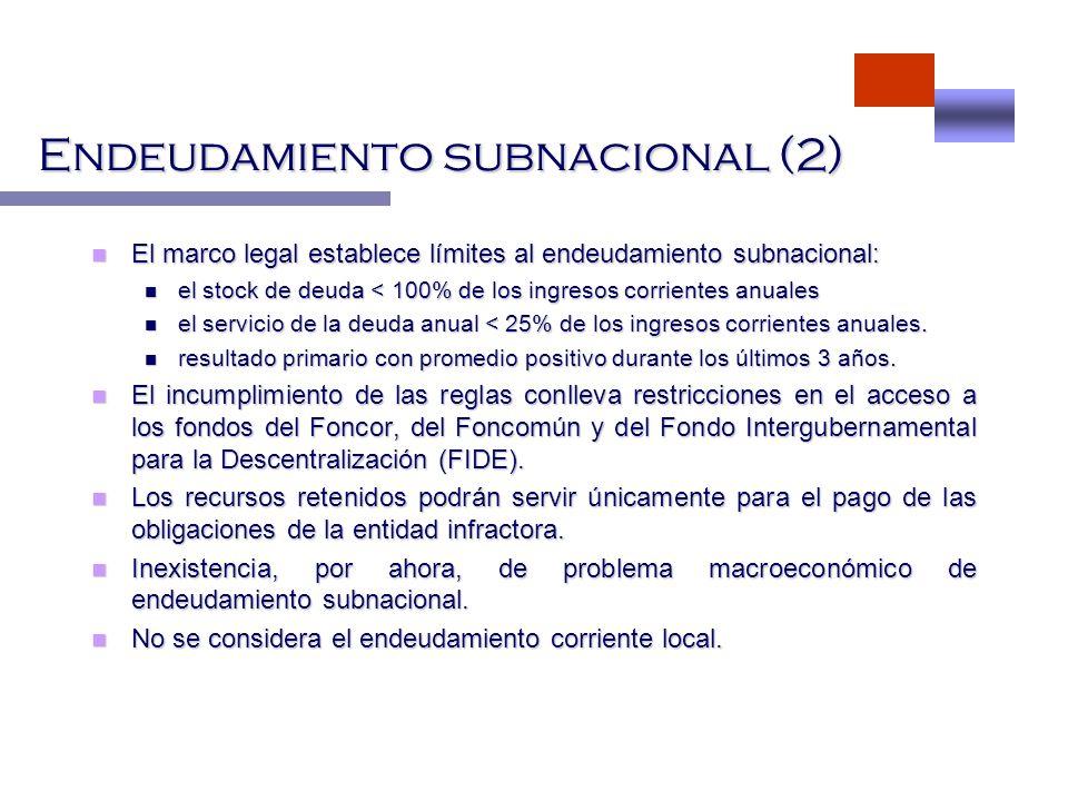 Endeudamiento subnacional (2) El marco legal establece límites al endeudamiento subnacional: El marco legal establece límites al endeudamiento subnaci