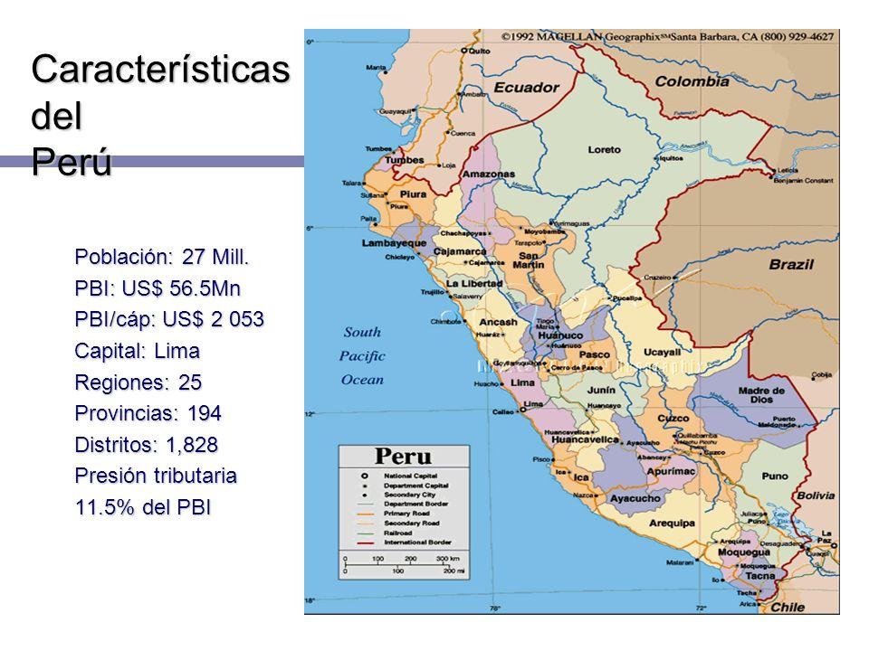 Características del Perú Población: 27 Mill. PBI: US$ 56.5Mn PBI/cáp: US$ 2 053 Capital: Lima Regiones: 25 Provincias: 194 Distritos: 1,828 Presión tr
