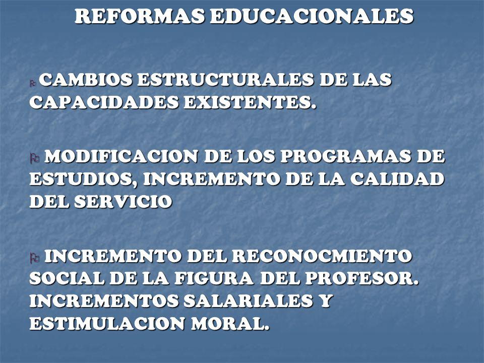 REFORMAS EDUCACIONALES O CAMBIOS ESTRUCTURALES DE LAS CAPACIDADES EXISTENTES. O MODIFICACION DE LOS PROGRAMAS DE ESTUDIOS, INCREMENTO DE LA CALIDAD DE