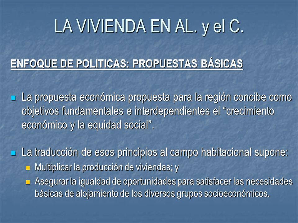 LA VIVIENDA EN AL. y el C. ENFOQUE DE POLITICAS: PROPUESTAS BÁSICAS La propuesta económica propuesta para la región concibe como objetivos fundamental