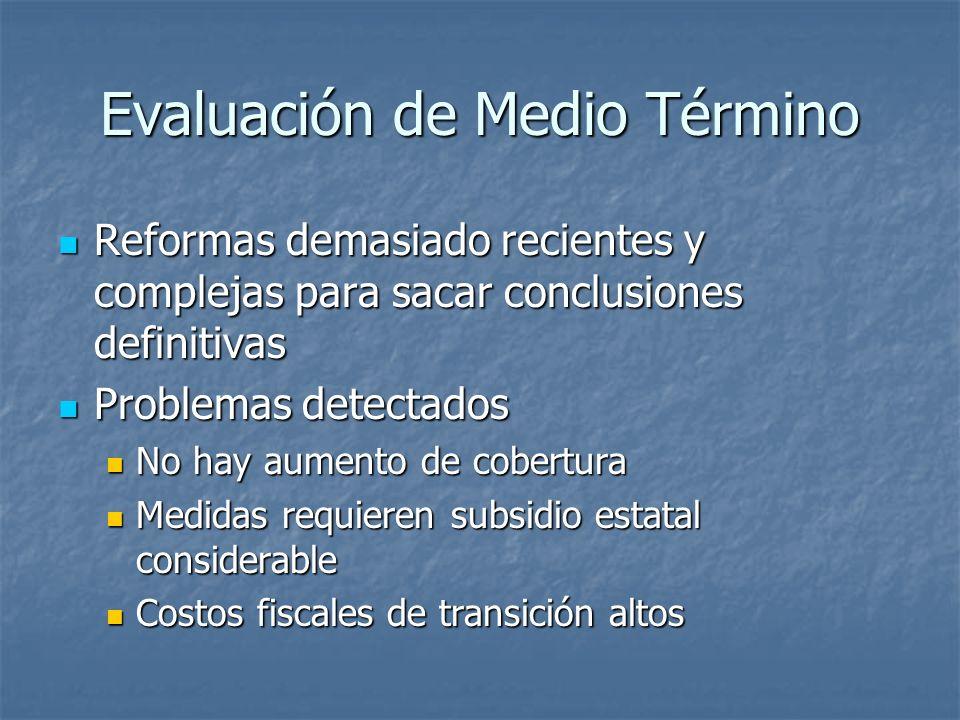 Evaluación de Medio Término Reformas demasiado recientes y complejas para sacar conclusiones definitivas Reformas demasiado recientes y complejas para