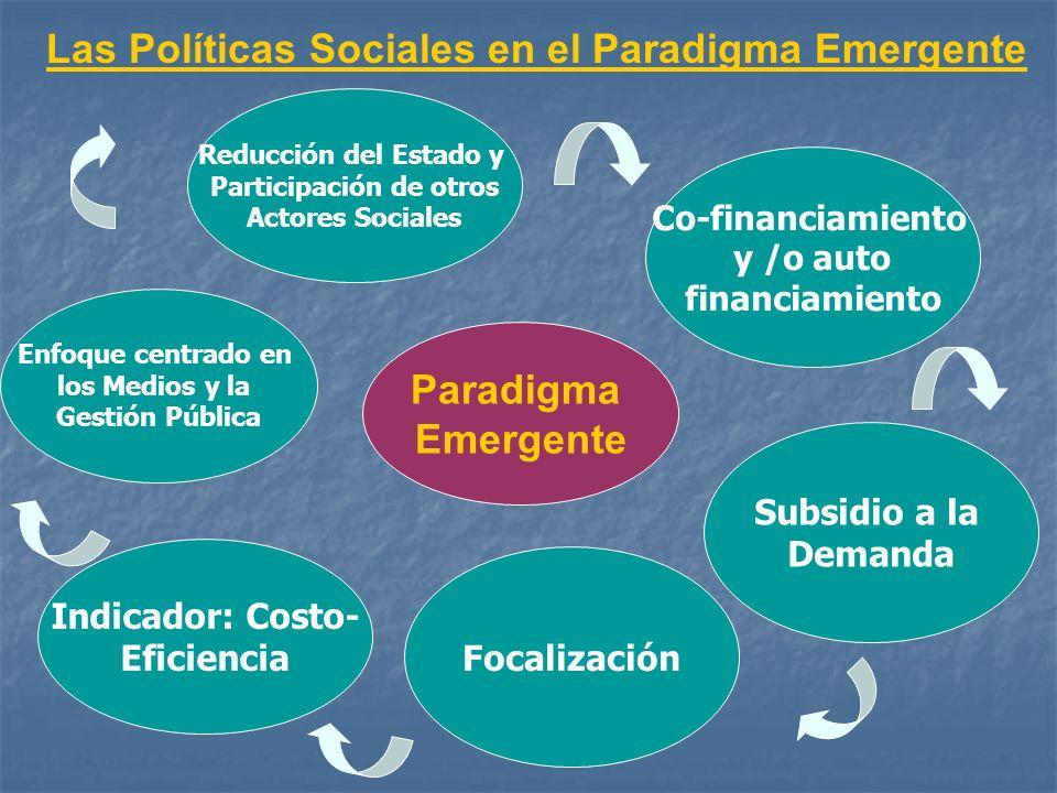 Las Políticas Sociales en el Paradigma Emergente Paradigma Emergente Enfoque centrado en los Medios y la Gestión Pública Reducción del Estado y Partic