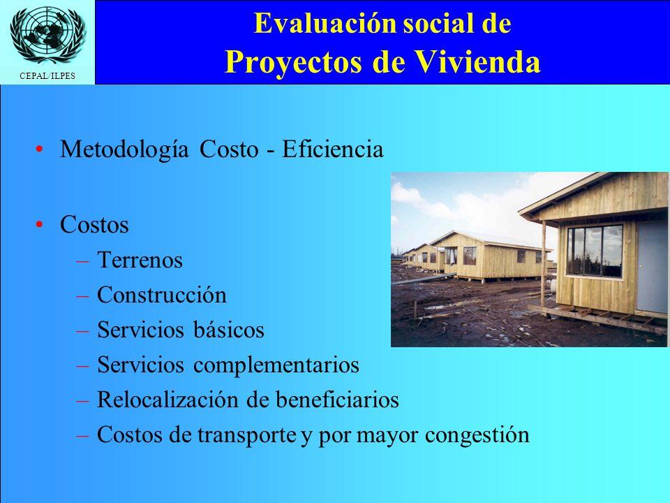 CEPAL/ILPES Evaluación social de Proyectos de Vivienda Metodología Costo - Eficiencia Costos –T–Terrenos –C–Construcción –S–Servicios básicos –S–Servicios complementarios –R–Relocalización de beneficiarios –C–Costos de transporte y por mayor congestión