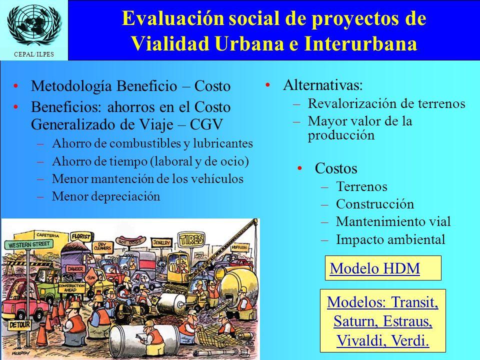 CEPAL/ILPES Evaluación social de proyectos de Vialidad Urbana e Interurbana Metodología Beneficio – Costo Beneficios: ahorros en el Costo Generalizado de Viaje – CGV –A–Ahorro de combustibles y lubricantes –A–Ahorro de tiempo (laboral y de ocio) –M–Menor mantención de los vehículos –M–Menor depreciación Modelo HDM Modelos: Transit, Saturn, Estraus, Vivaldi, Verdi.