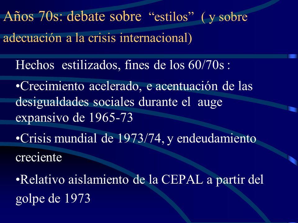 Textos seleccionados sobre las tesis de los 60s Bajo dinamismo (Prebisch, texto 12 de la colectánea) Dependencia económica : (Sunkel, texto 14 de la c