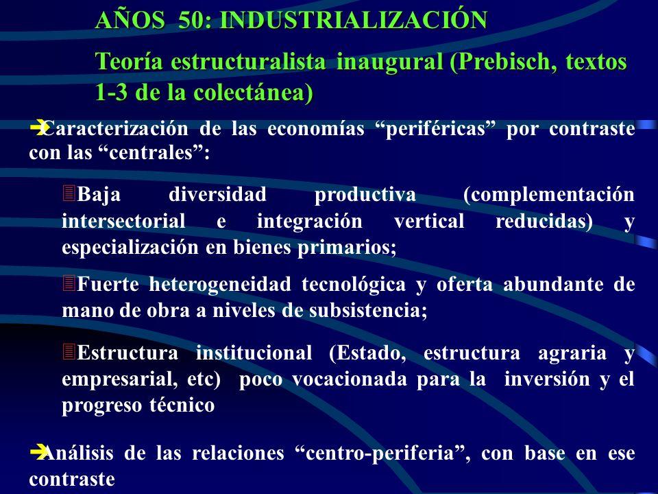 AÑOS 50: INDUSTRIALIZACIÓN Teoría estructuralista inaugural (Prebisch, textos 1-3 de la colectánea) è èCaracterización de las economías periféricas por contraste con las centrales: 3 3Baja diversidad productiva (complementación intersectorial e integración vertical reducidas) y especialización en bienes primarios; 3 3Fuerte heterogeneidad tecnológica y oferta abundante de mano de obra a niveles de subsistencia; 3 3Estructura institucional (Estado, estructura agraria y empresarial, etc) poco vocacionada para la inversión y el progreso técnico è èAnálisis de las relaciones centro-periferia, con base en ese contraste
