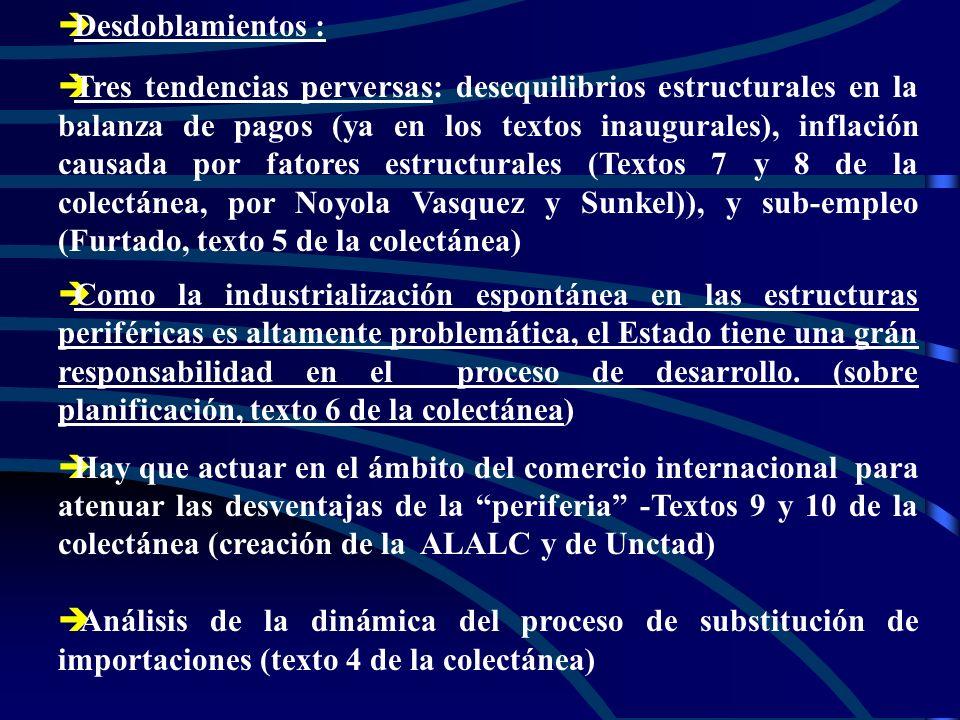 è èDesdoblamientos : è èTres tendencias perversas: desequilibrios estructurales en la balanza de pagos (ya en los textos inaugurales), inflación causada por fatores estructurales (Textos 7 y 8 de la colectánea, por Noyola Vasquez y Sunkel)), y sub-empleo (Furtado, texto 5 de la colectánea) è èComo la industrialización espontánea en las estructuras periféricas es altamente problemática, el Estado tiene una grán responsabilidad en el proceso de desarrollo.