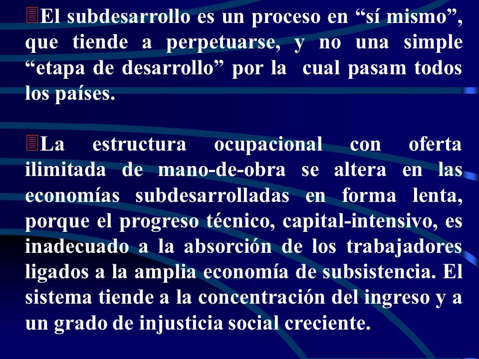 3 3El subdesarrollo es un proceso en sí mismo, que tiende a perpetuarse, y no una simple etapa de desarrollo por la cual pasam todos los países.