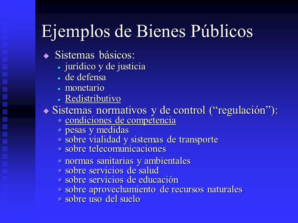 Ejemplos de Bienes Públicos Sistemas básicos: Sistemas básicos: jurídico y de justicia jurídico y de justicia de defensa de defensa monetario monetari