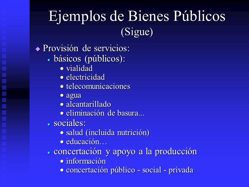 Ejemplos de Bienes Públicos (Sigue) Provisión de servicios: Provisión de servicios: básicos (públicos): básicos (públicos): vialidad vialidad electric