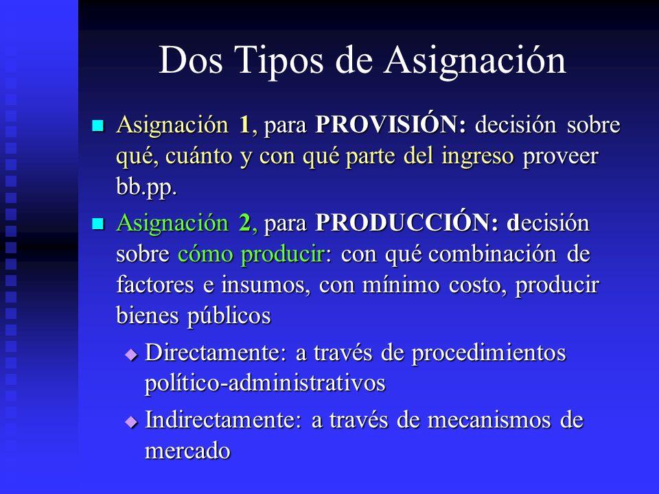 Dos Tipos de Asignación Asignación 1, para PROVISIÓN: decisión sobre qué, cuánto y con qué parte del ingreso proveer bb.pp. Asignación 1, para PROVISI