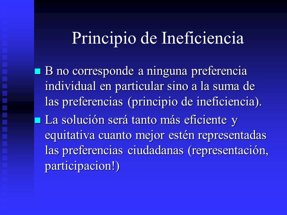Principio de Ineficiencia B no corresponde a ninguna preferencia individual en particular sino a la suma de las preferencias (principio de ineficienci
