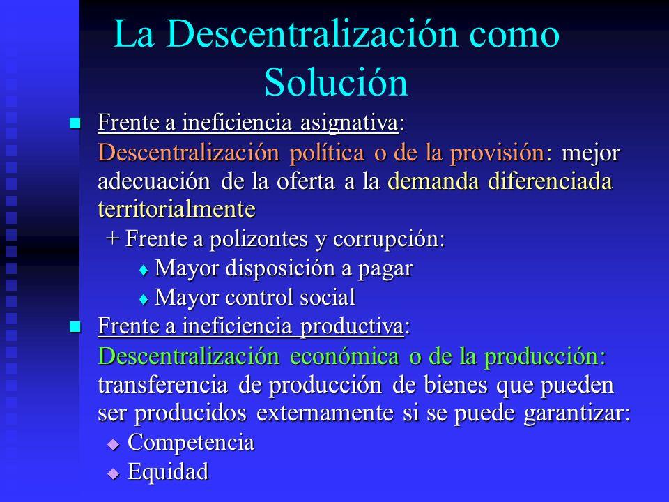 La Descentralización como Solución Frente a ineficiencia asignativa: Frente a ineficiencia asignativa: Descentralización política o de la provisión: m