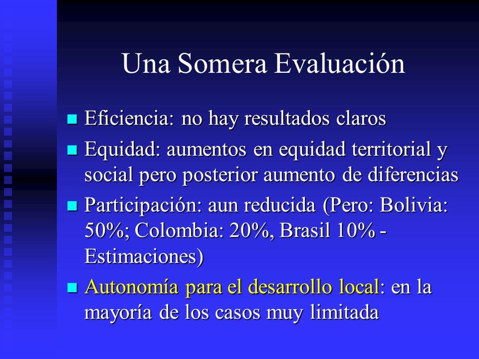 Una Somera Evaluación Eficiencia: no hay resultados claros Eficiencia: no hay resultados claros Equidad: aumentos en equidad territorial y social pero