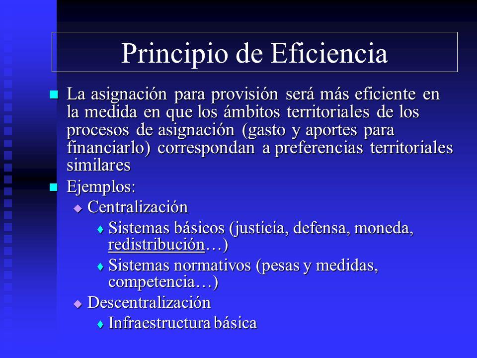 Principio de Eficiencia La asignación para provisión será más eficiente en la medida en que los ámbitos territoriales de los procesos de asignación (g