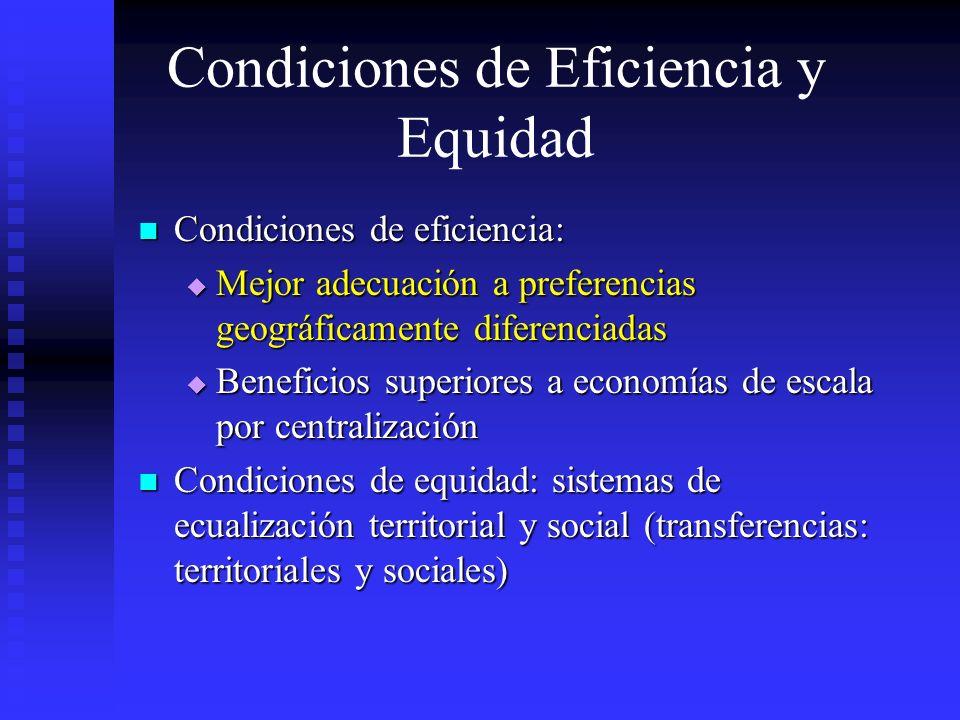 Condiciones de Eficiencia y Equidad Condiciones de eficiencia: Condiciones de eficiencia: Mejor adecuación a preferencias geográficamente diferenciada