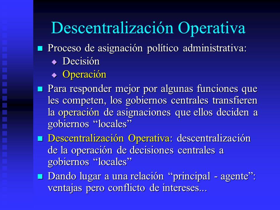 Descentralización Operativa Proceso de asignación político administrativa: Proceso de asignación político administrativa: Decisión Decisión Operación