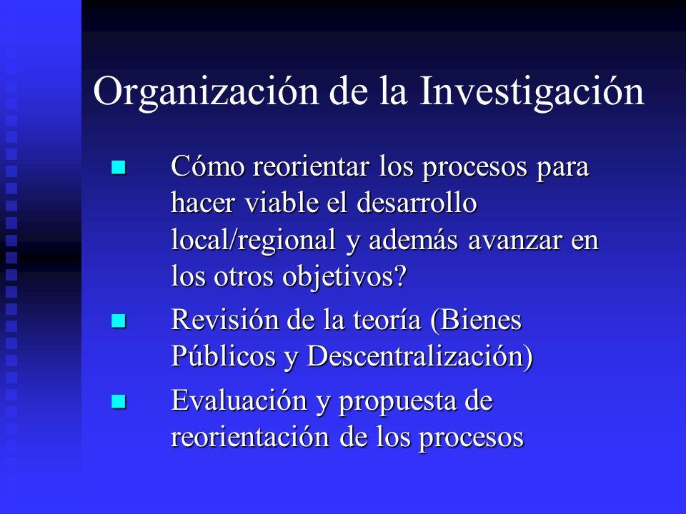 Organización de la Investigación Cómo reorientar los procesos para hacer viable el desarrollo local/regional y además avanzar en los otros objetivos?