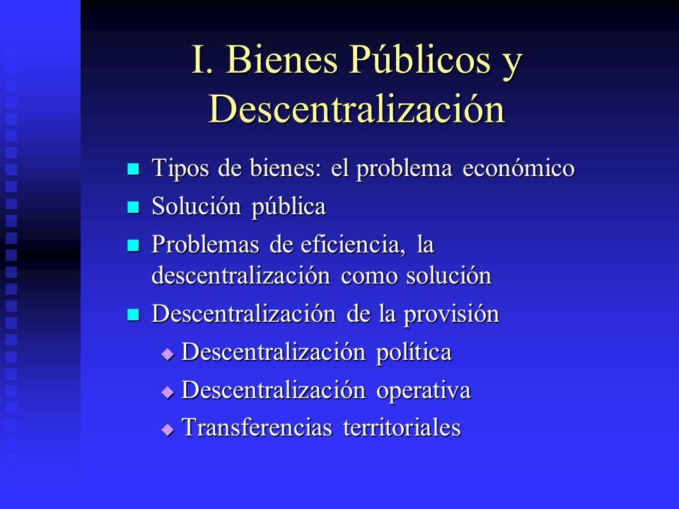 I. Bienes Públicos y Descentralización Tipos de bienes: el problema económico Tipos de bienes: el problema económico Solución pública Solución pública