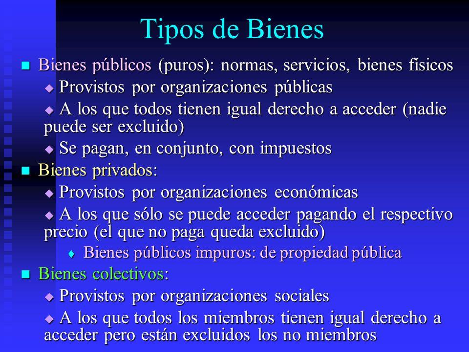Tipos de Bienes Bienes públicos (puros): normas, servicios, bienes físicos Bienes públicos (puros): normas, servicios, bienes físicos Provistos por or