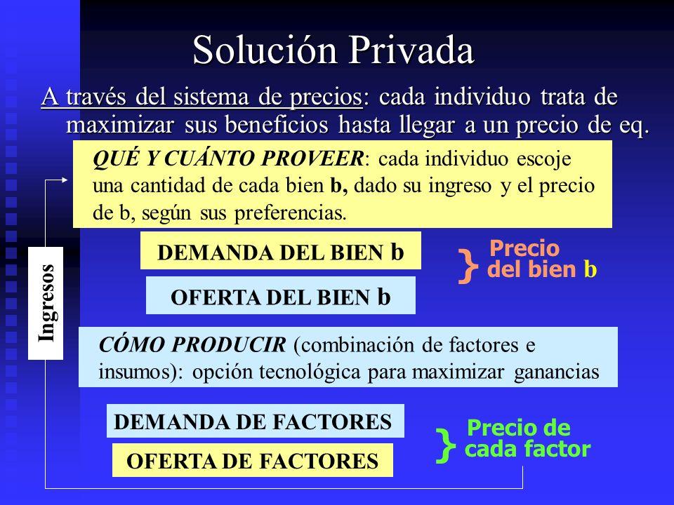Solución Privada A través del sistema de precios: cada individuo trata de maximizar sus beneficios hasta llegar a un precio de eq. QUÉ Y CUÁNTO PROVEE