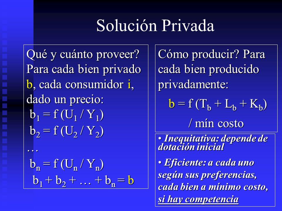 Solución Privada Qué y cuánto proveer? Para cada bien privado b, cada consumidor i, dado un precio: b 1 = f (U 1 / Y 1 ) b 1 = f (U 1 / Y 1 ) b 2 = f