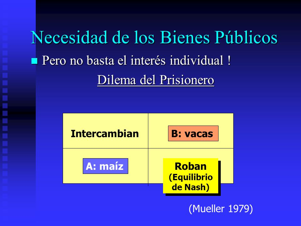 Necesidad de los Bienes Públicos Pero no basta el interés individual ! Pero no basta el interés individual ! Dilema del Prisionero A: maíz B: vacas In