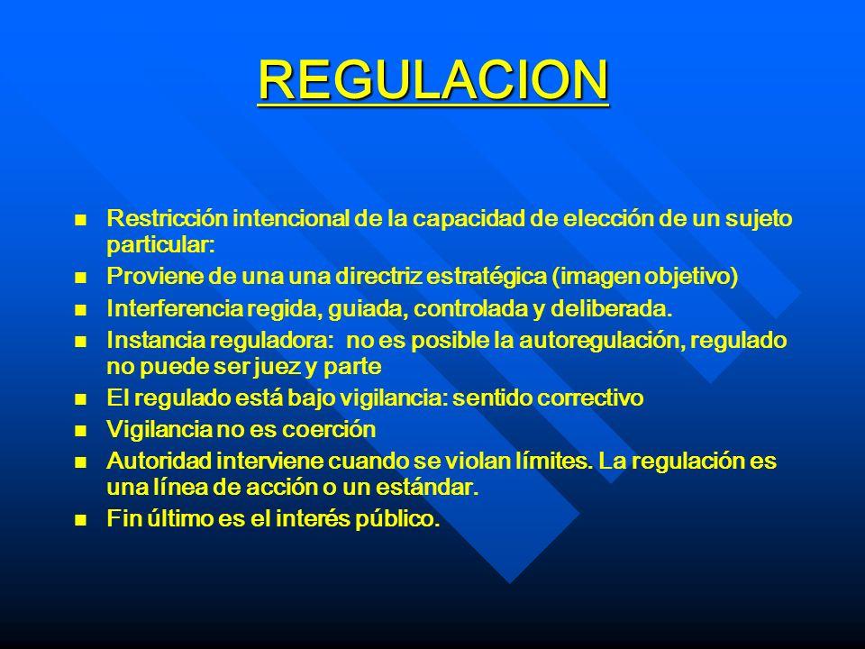 REGULACION n n Restricción intencional de la capacidad de elección de un sujeto particular: n n Proviene de una una directriz estratégica (imagen obje