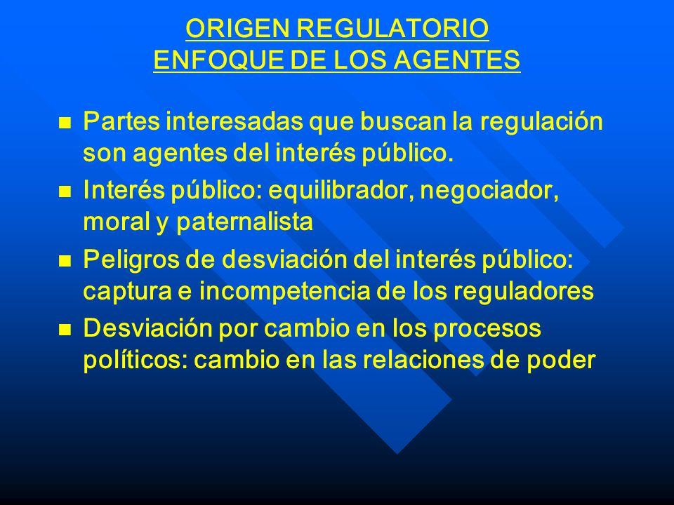 ORIGEN REGULATORIO ENFOQUE DE LOS AGENTES n n Partes interesadas que buscan la regulación son agentes del interés público. n n Interés público: equili
