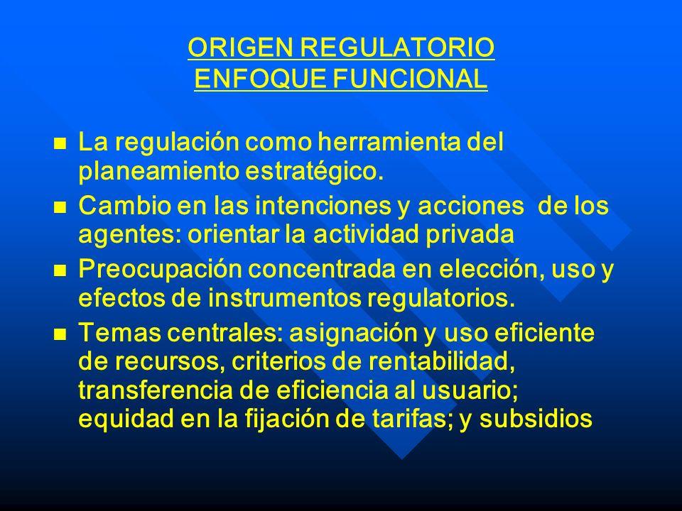 ORIGEN REGULATORIO ENFOQUE FUNCIONAL n n La regulación como herramienta del planeamiento estratégico. n n Cambio en las intenciones y acciones de los