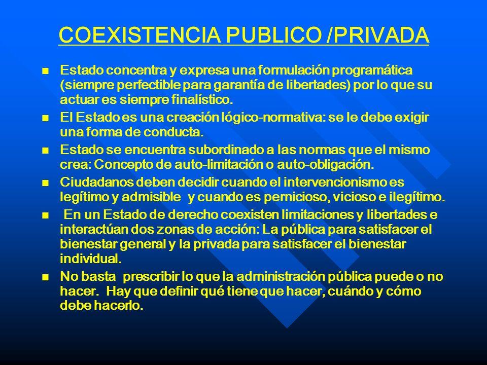 COEXISTENCIA PUBLICO /PRIVADA n n Estado concentra y expresa una formulación programática (siempre perfectible para garantía de libertades) por lo que