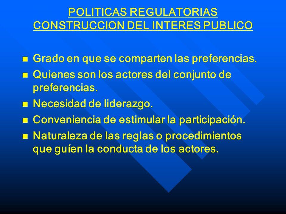 POLITICAS REGULATORIAS CONSTRUCCION DEL INTERES PUBLICO n n Grado en que se comparten las preferencias. n n Quienes son los actores del conjunto de pr