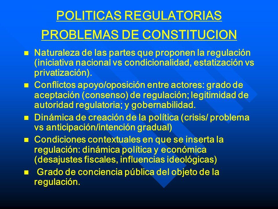 POLITICAS REGULATORIAS PROBLEMAS DE CONSTITUCION n n Naturaleza de las partes que proponen la regulación (iniciativa nacional vs condicionalidad, esta