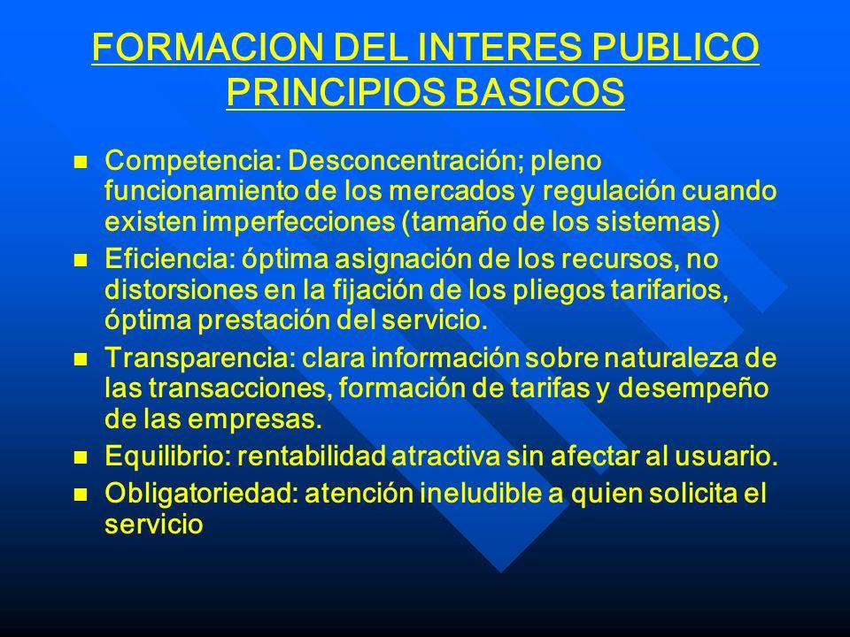 FORMACION DEL INTERES PUBLICO PRINCIPIOS BASICOS n n Competencia: Desconcentración; pleno funcionamiento de los mercados y regulación cuando existen i