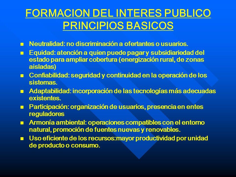 FORMACION DEL INTERES PUBLICO PRINCIPIOS BASICOS n n Neutralidad: no discriminación a ofertantes o usuarios. n n Equidad: atención a quien puede pagar
